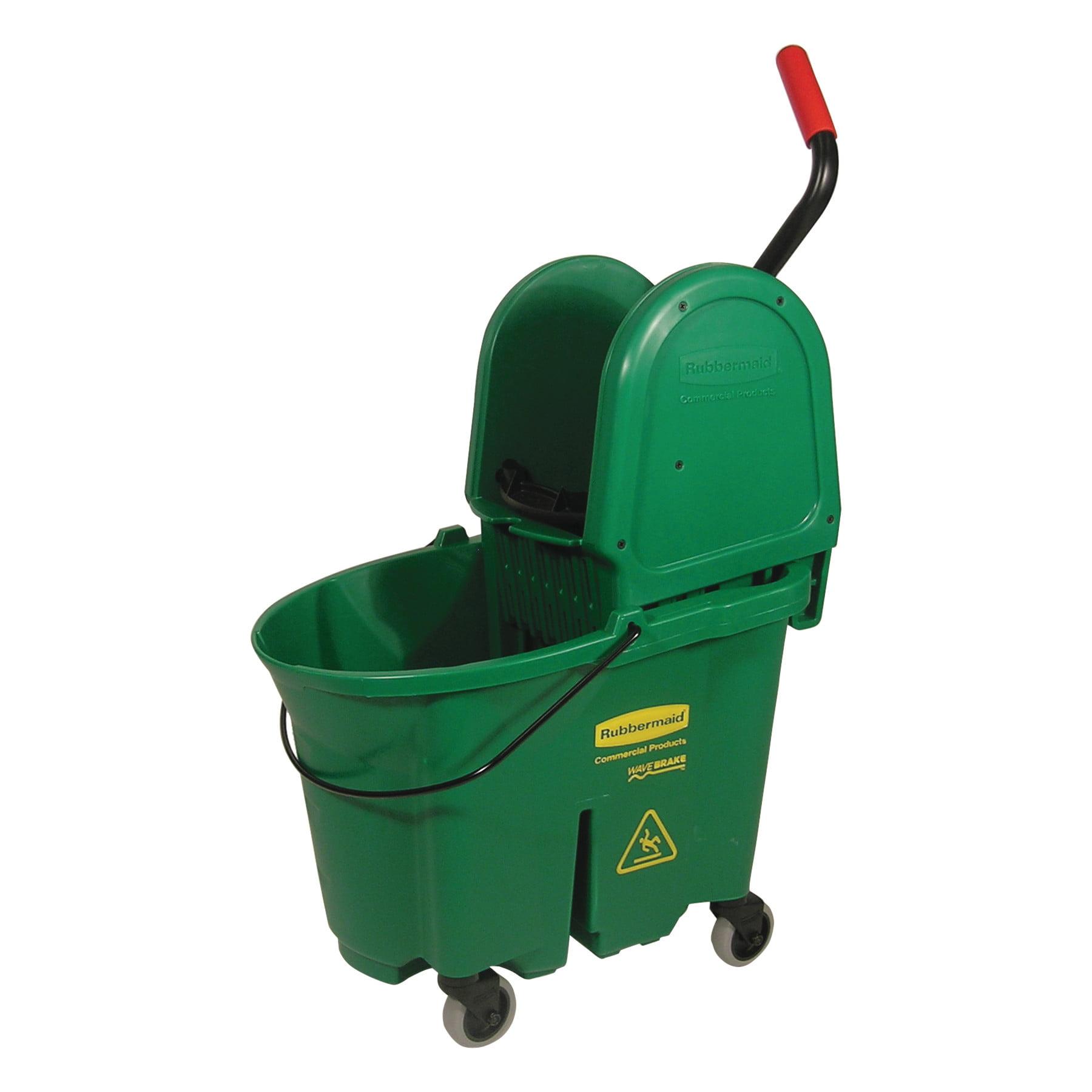 Rubbermaid Commercial WaveBrake Bucket/Wringer Combos, 35 qt, Green