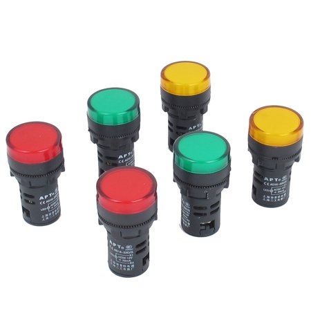 6pcs ac 12v 20ma orange green red led power indicator pilot signal light lamp ()