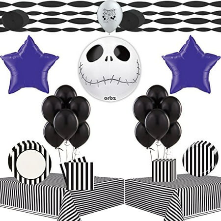 Jack Skellington Party Supplies Nightmare Before Christmas Tableware and Balloon Decoration Kit (Xmas Party Supplies)