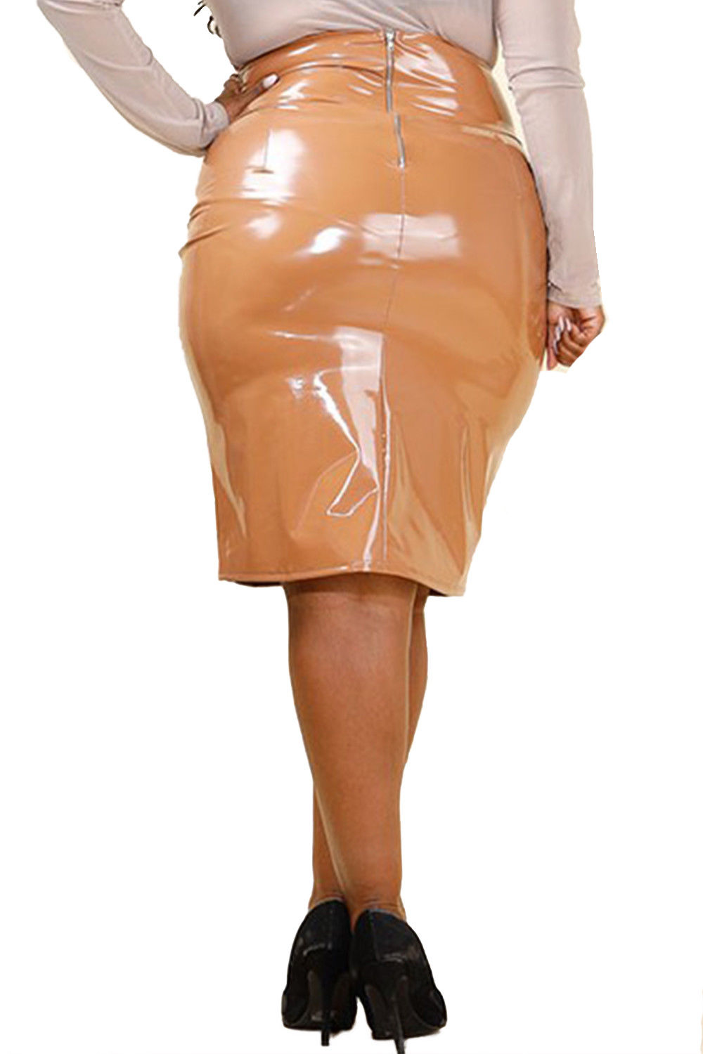 d845954e4 Genx - Womens Plus Size Shiny Latex Midi Fashion PU Skirt GNS4213 -XL-Nude  - Walmart.com