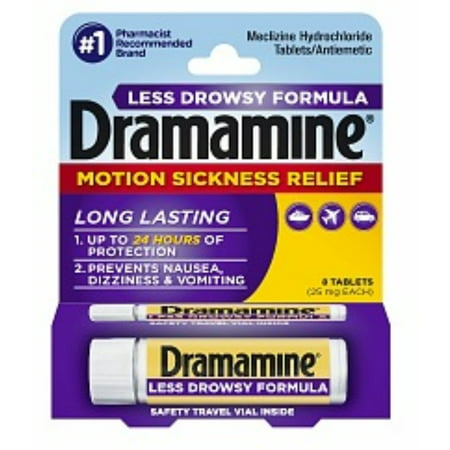 2 Pack - Dramamine Motion Sickness Relief Less Drowsey Formula Tablets 8