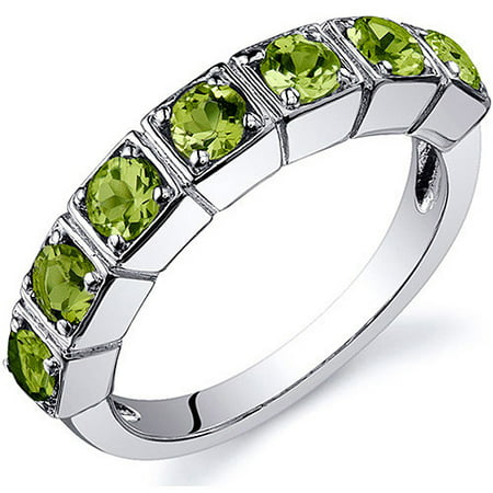 1.75 Carat T.G.W. 7-Stone Peridot Rhodium-Plated Sterling Silver Band Ring