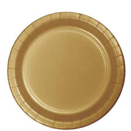 Glittering Gold Party Supplies 8.75 inch Paper Lunch/Dinner Plates (24 ct) - Planes Party Supplies