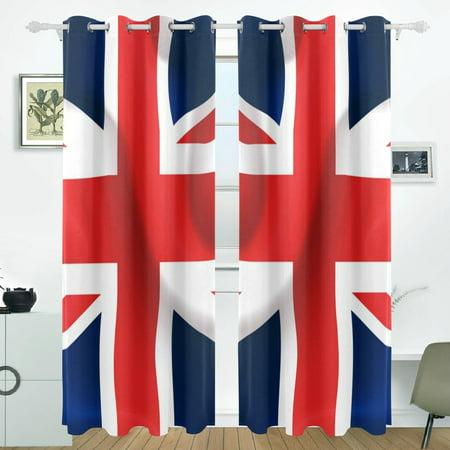 POPCreation UK Waving Flag Window Curtain Blackout Curtains Darkening Thermal Blind Curtain for Bedroom Living Room,2 Panel (52Wx84L (Best Blackout Blinds Uk)
