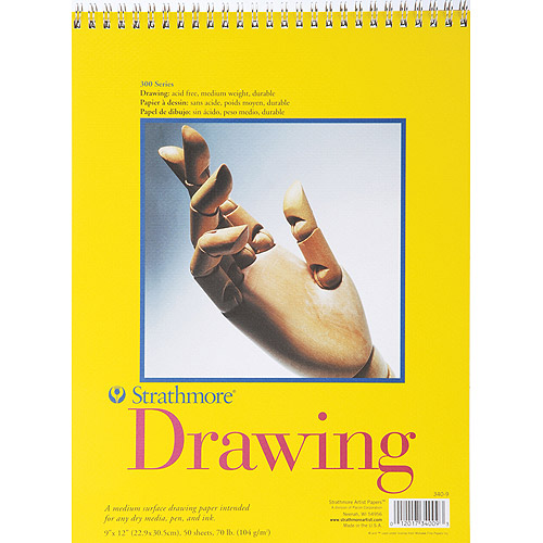 "Strathmore 300 Series Spiral Bound Drawing Pad, 70 Pound Weight, 9"" x 12"", 50 Sheets"