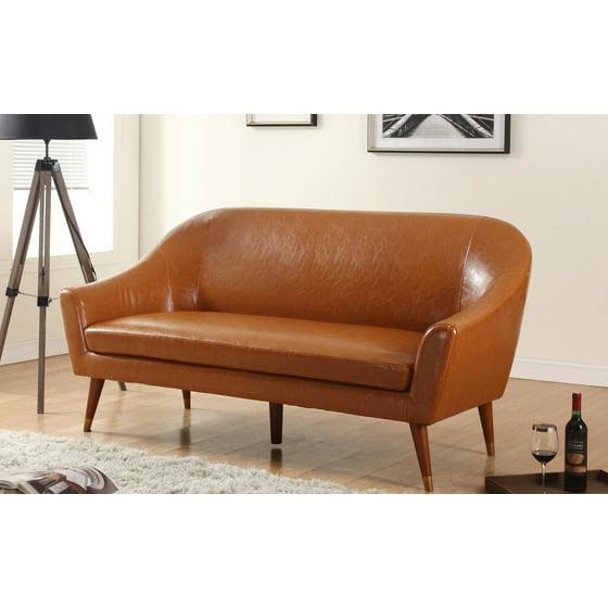 Mid Century Modern Bonded Leather Living Room Sofa Camel: Mid Century Modern Bonded Leather Living Room Sofa