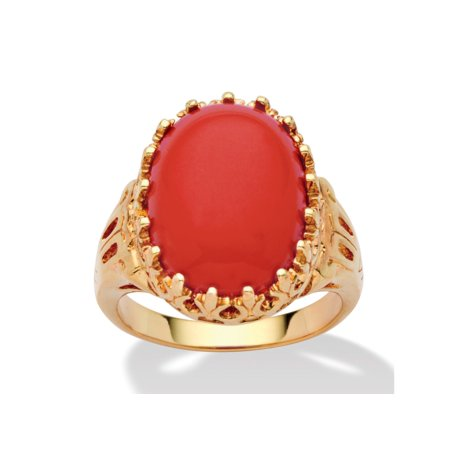 - Oval Simulated Coral 14k Yellow Gold-Plated Cabochon Filigree Cocktail Ring