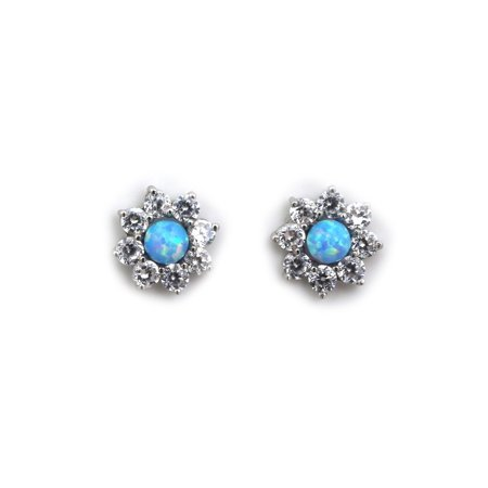 - 14k Yellow or White Gold Light Blue Simulated Opal Stud Earrings with CZ Halo Earring Jackets