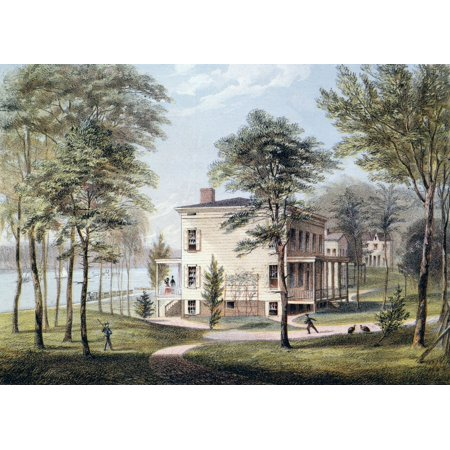 New York City Estate Nview Of A New York City Estate On The Banks Of The Hudson River Lithograph 1865 Rolled Canvas Art     18 X 24
