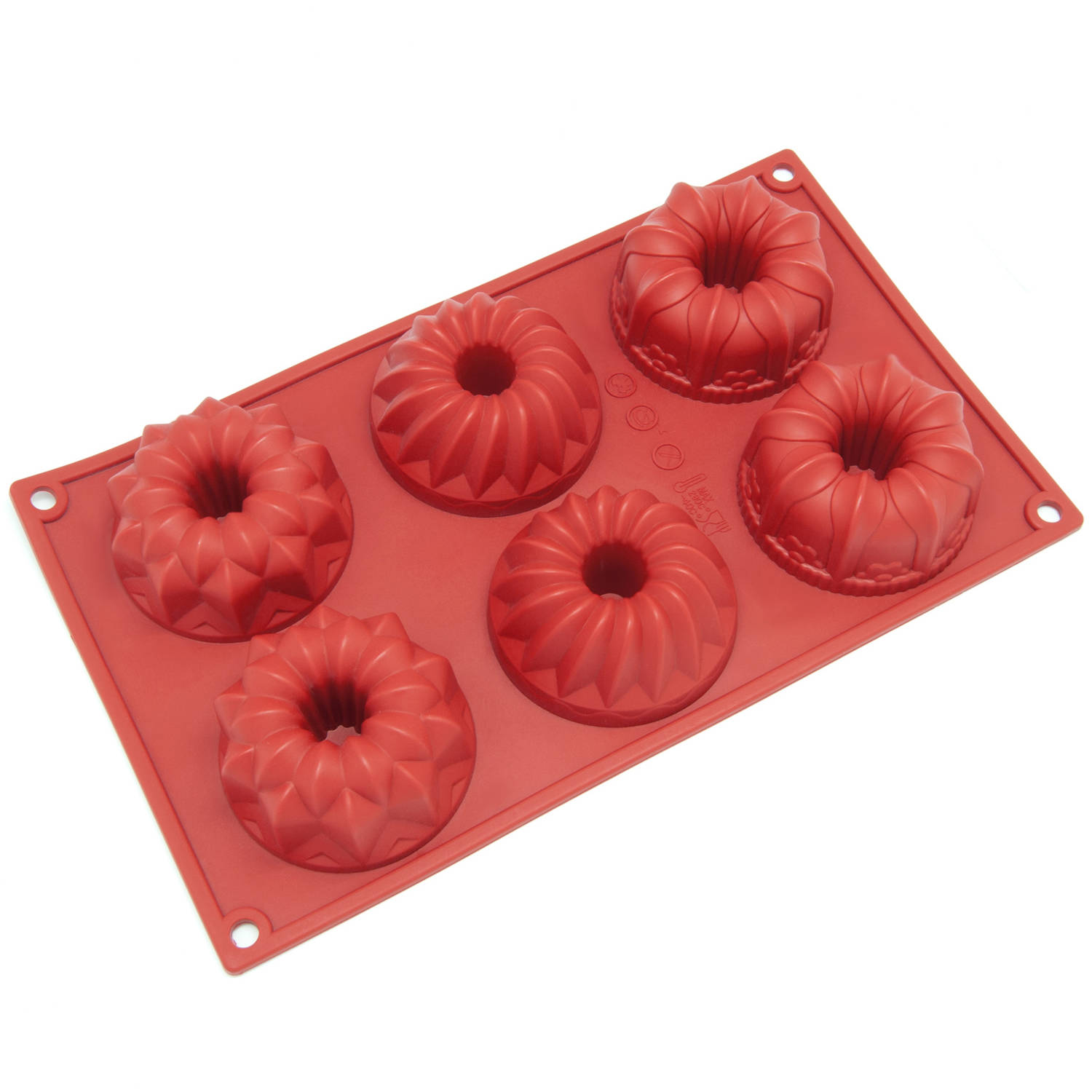 Freshware 6-Cavity Fancy Bundt Cake Silicone Mold for Muffin, Soap, Cupcake, Pudding and Jello, SL-119RD