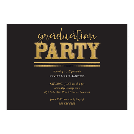 Personalized Graduation Invitation - Golden Graduate - 5 x 7 Flat](Black And Gold Invitations)