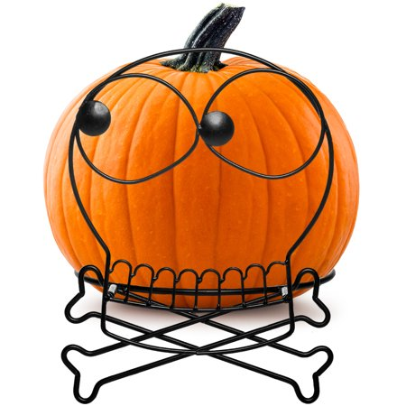 Tag Skull & Bone Pumpkin Holder Large Metal Halloween Jackolantern Display Stand