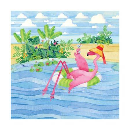 Martini Float Flamingo Art Print By Paul Brent -