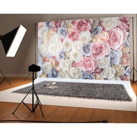 GreenDecor Polyster 7x5ft Photography Backdrop Valentine's Day Paper Rose Flowers Romantic Wedding Background Girls Princess Lover Photo Studio Props](Photography Backdrop Paper)
