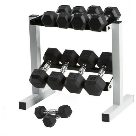 CAP 150 lb Rubber Hex Dumbbell Weight Set, 5-25 lb with