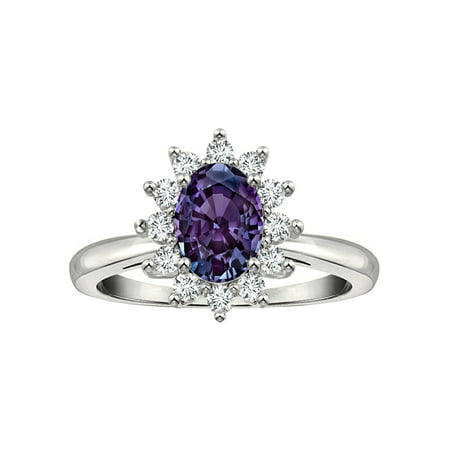 Tommaso Design Oval 7x5 mm Simulated Alexandrite Ring
