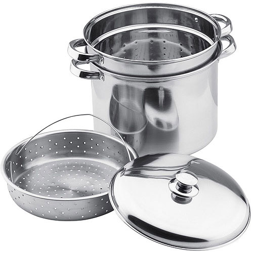Vinaroz Stainless Steel Collection 4-Piece Steamer Pot and Pasta Cooker