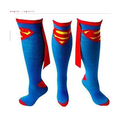 Superman Logo Superhero Cape Knee High Socks Blue Adult shoe size 9-12 (Superhero Socks With Cape)