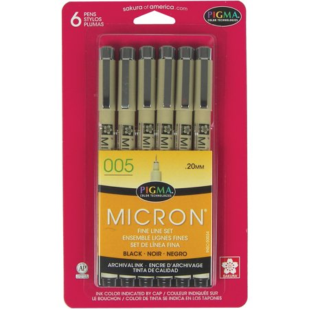 Sakura Pigma Micron Pens 005 .2mm, Black, 6 Count 240 Pin Micron Chip