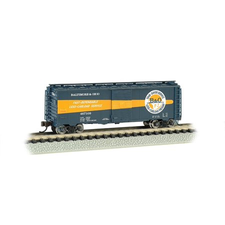 Bachmann Industries Aar 40 Foot Steel Box Car B and O Timesaver, N Scale, Rolling Stock for your N Scale layout By Bachmann Trains Ship from US