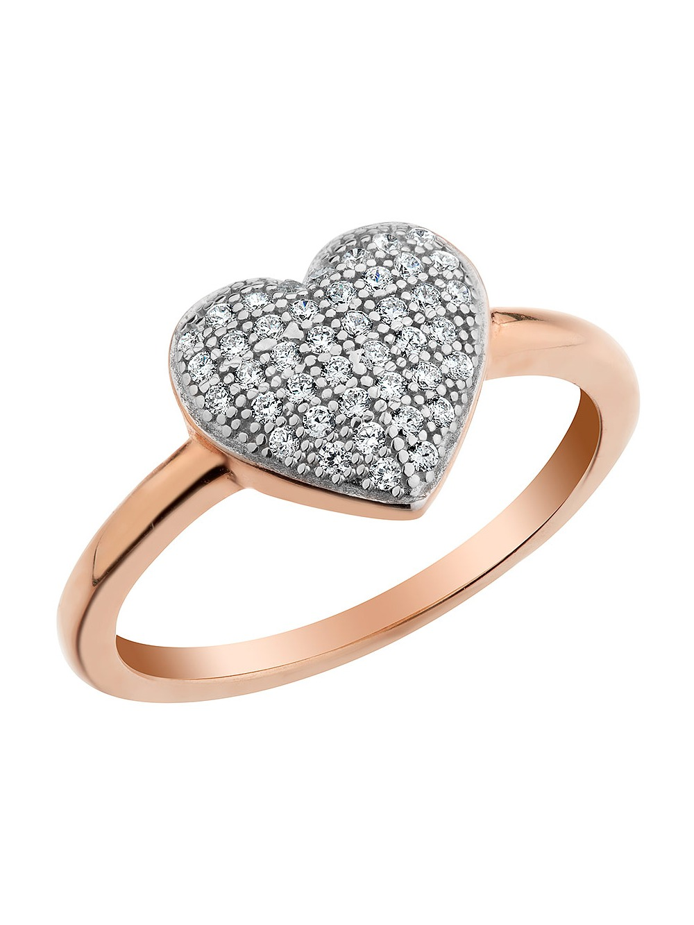 Simulated Crystal Heart Ring in Sterling Silver with Rose Gold Plating