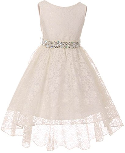 Big Girl Flower Girl Dress Hi-Low Style Lace Allover Blush 10 MBK360