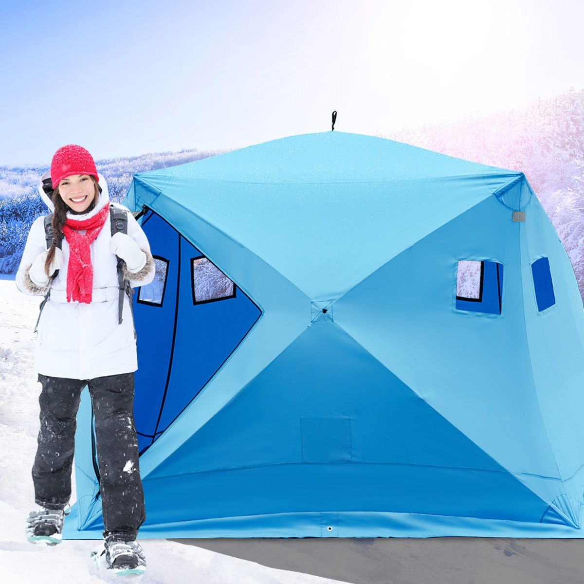 Waterproof Pop-up 4-person Ice Shelter Fishing Tent Outdoor by