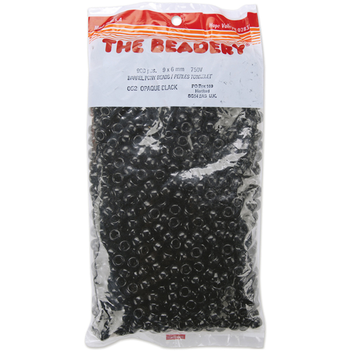 Pony Beads 6mmX9mm 900/Pkg-Opaque Black