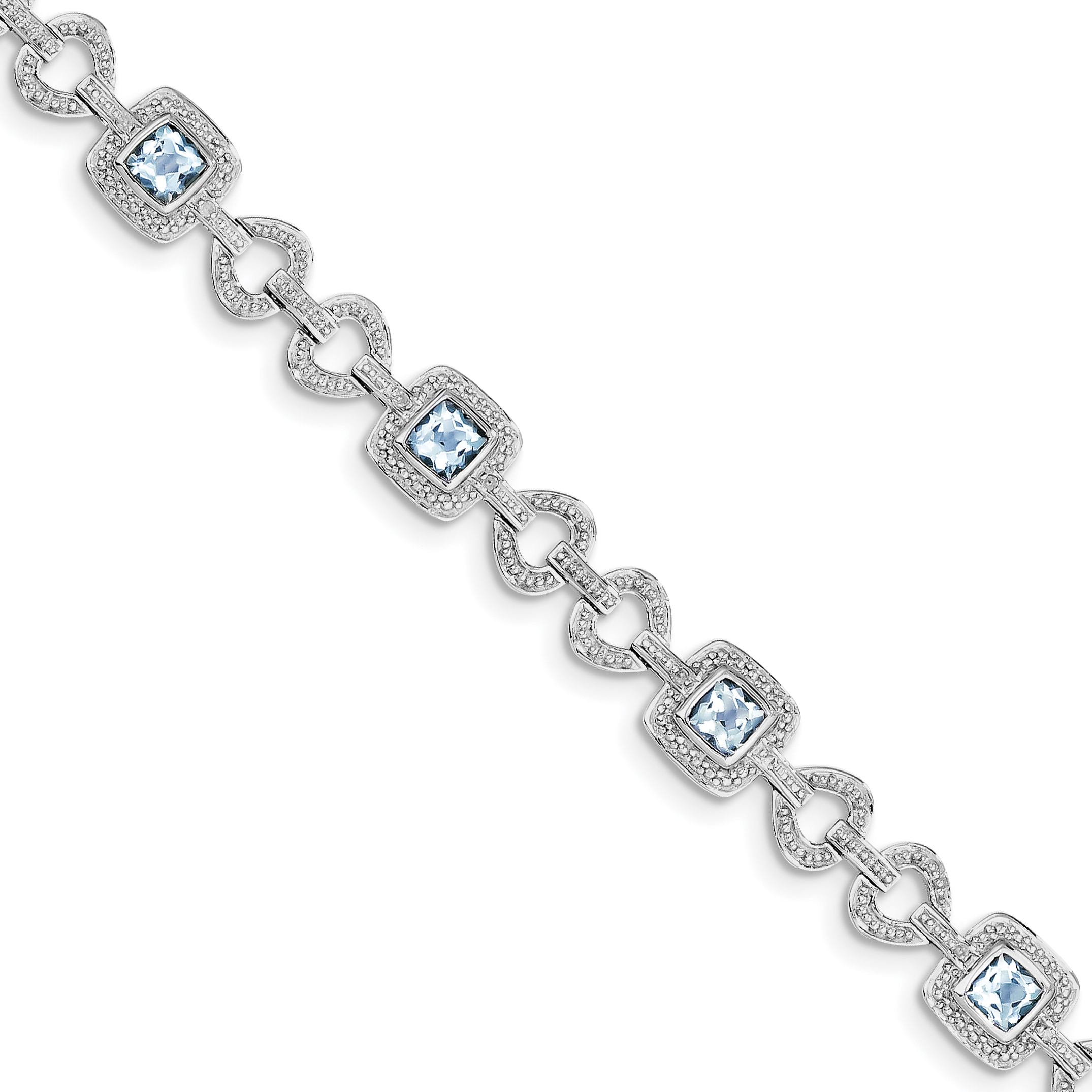 Sterling Silver Rhodium-plated Diamond & Light Swiss Blue Topaz Bracelet by CoutureJewelers
