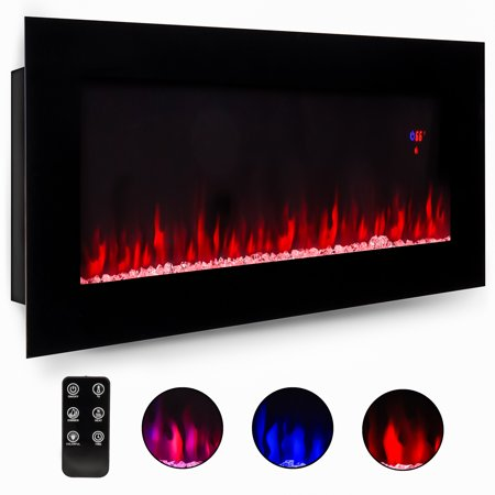 Best Choice Products 50in Electric Wall Mounted Smokeless Ventless Fireplace Heater w/ Adjustable Heat, Remote Control - Black (Remote Control Gas Fireplaces)