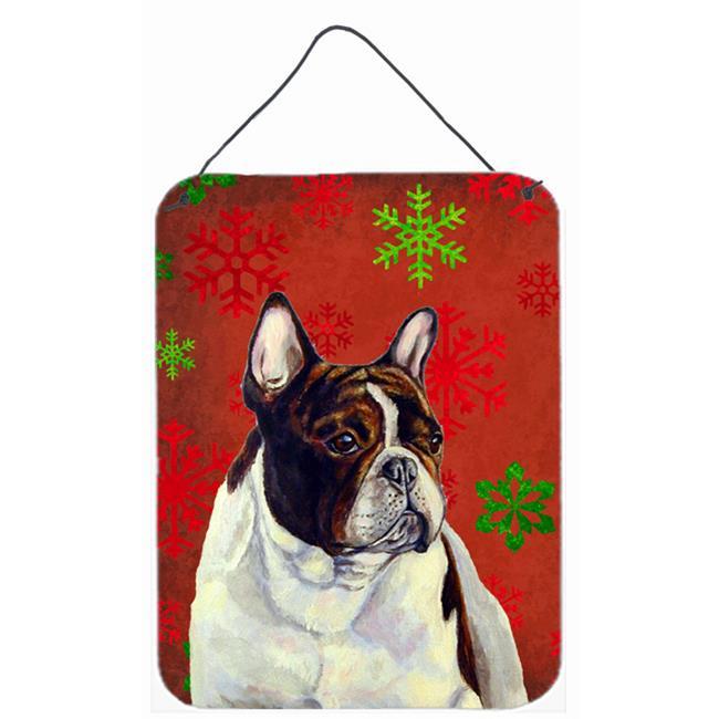 Carolines Treasures LH9337DS1216 French Bulldog Red Snowflakes Holiday Christmas Aluminium Metal Wall Or Door Hanging Prints - image 1 de 1