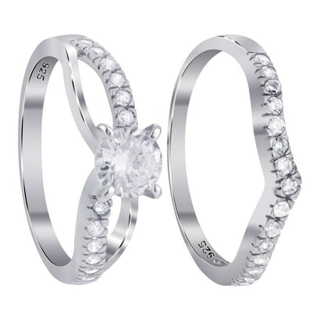 Gem Avenue 925 Sterling Silver 4-Prong Cubic Zirconia with CZ accents 8mm Wedding Band Engagement Ring Set
