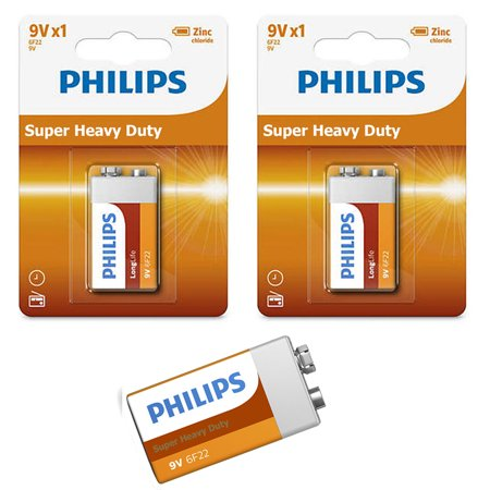 3 Philips 9 Volt Batteries 9V Super Heavy Duty Battery 6F22 Smoke Detector 2022 Detector 9v Battery