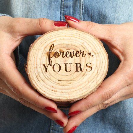 Koyal Wholesale Engraved Ring Box, Oak Real Wood Engagement Ring Box, Forever Yours, Wedding Proposal Box - Wholesale Online Stores