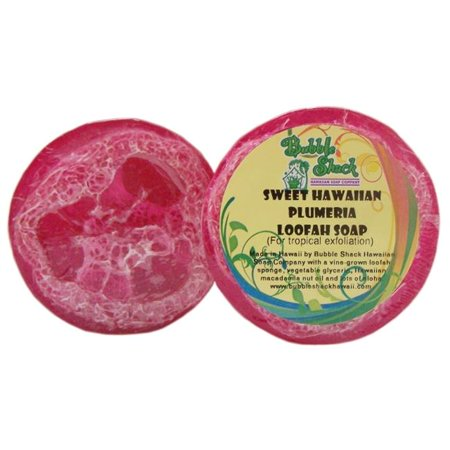 Bubble Shack Hawaii 492773500397 Sweet HI Plumeria Loofah Soap - Pack of - Plumeria Bubble