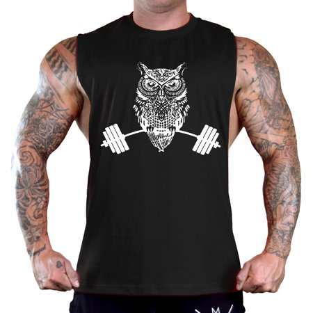 Men's Night Owl Dumbbell Sleeveless Black T-Shirt Gym Tank Top Medium Black](Owl Media)