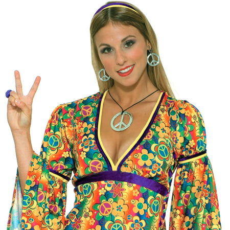 Hippie Peace Sign Necklace and (50's Costume Jewelry)