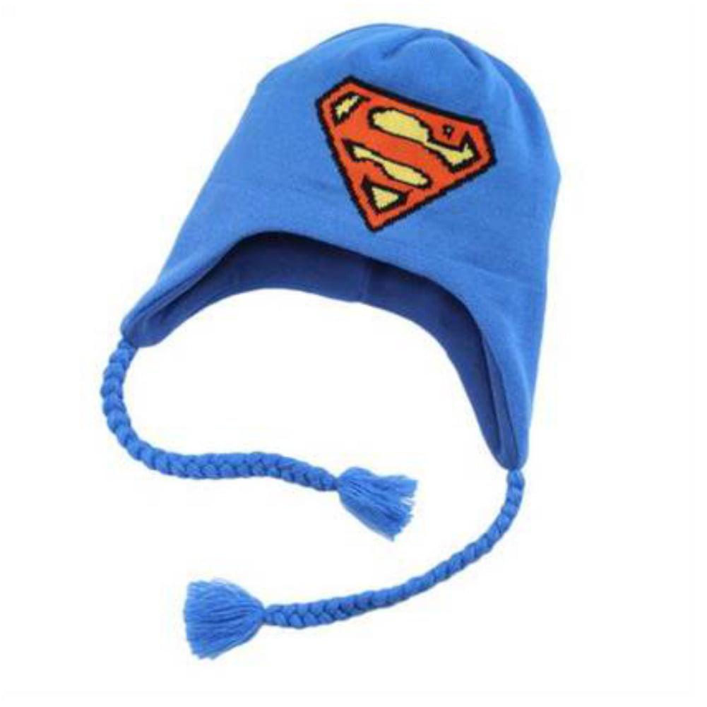 DC Comics Mens Blue Knit Superman Peruvian Trapper Hat