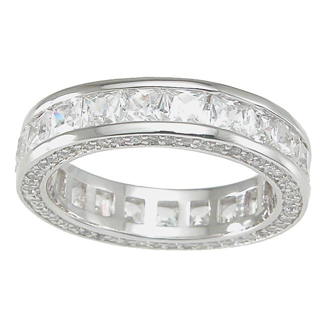 Plutus kkr6744d 925 Sterling Silver Princess Eternity Ring Size 9