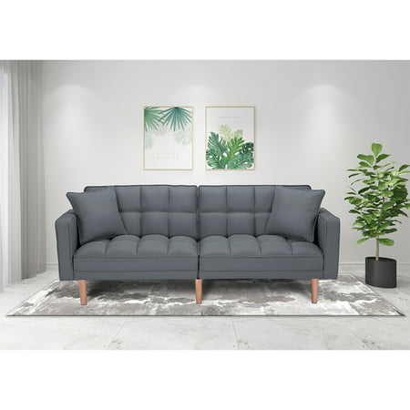 SEVENTH Convertible Sofa Bed with Armrest, Modern Fabric Sleeper Sofa Bed, Futon Couches and Sofas Sleeper with Wood Legs, Two Pillows, Recliner Couch Living Room Furniture Sofa for Home, Q128