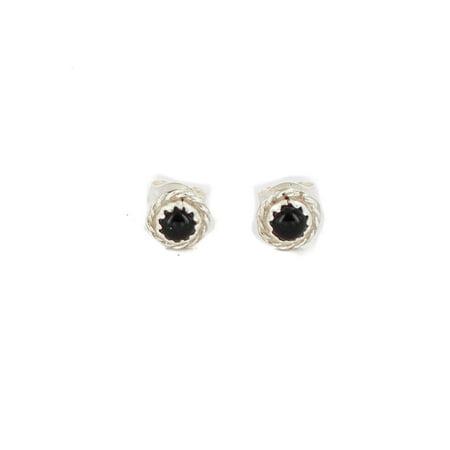 Certified Authentic Navajo .925 Sterling Silver Natural Black Onyx Native American Stud Earrings