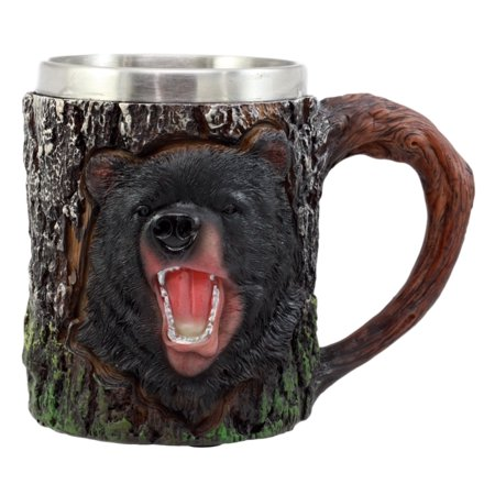 Souvenir Stein - Ebros Gift Nature Wildlife Roaring Black Bear Mug With Rustic Tree Bark Design 12oz Drink Beer Stein Tankard Coffee Cup