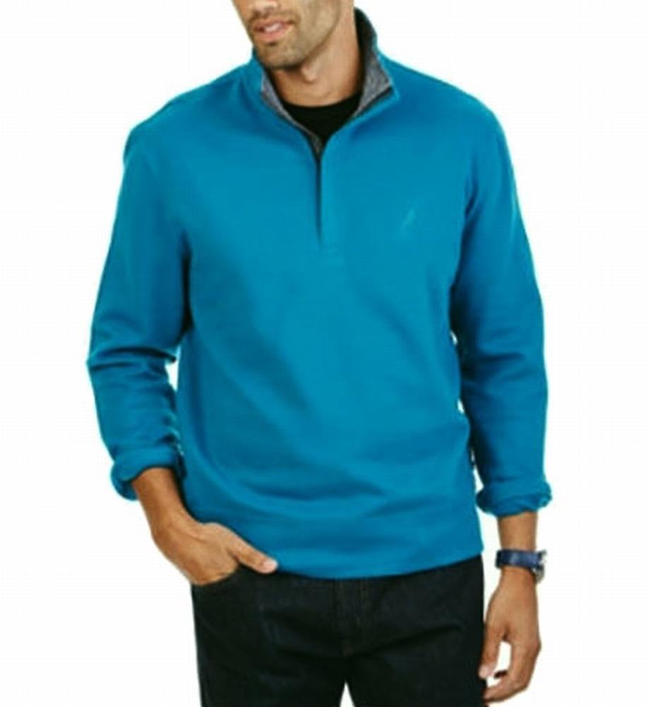 Nautica NEW Ocean Blue Mens Size Medium M Pullover Quarter Zip Sweater