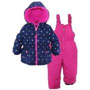 Pink Platinum Little Girls Snowsuit Silver Starts Print Jacket and Solid Ski Bib