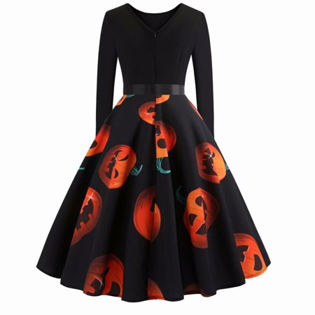 Akoyovwerve Halloween Women's Long Sleeve O-neck Pumpkin Printing Vintage Gown Party Dress - Halloween Smocked Dresses On Sale