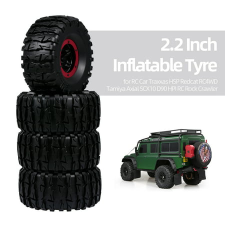 4pcs 135mm 2.2 Inch Rim Rubber Inflatable Tyre Tire Wheel for RC Car Traxxas HSP Redcat Tamiya Axial SCX10 D90 HPI RC Rock Crawler - image 1 de 7