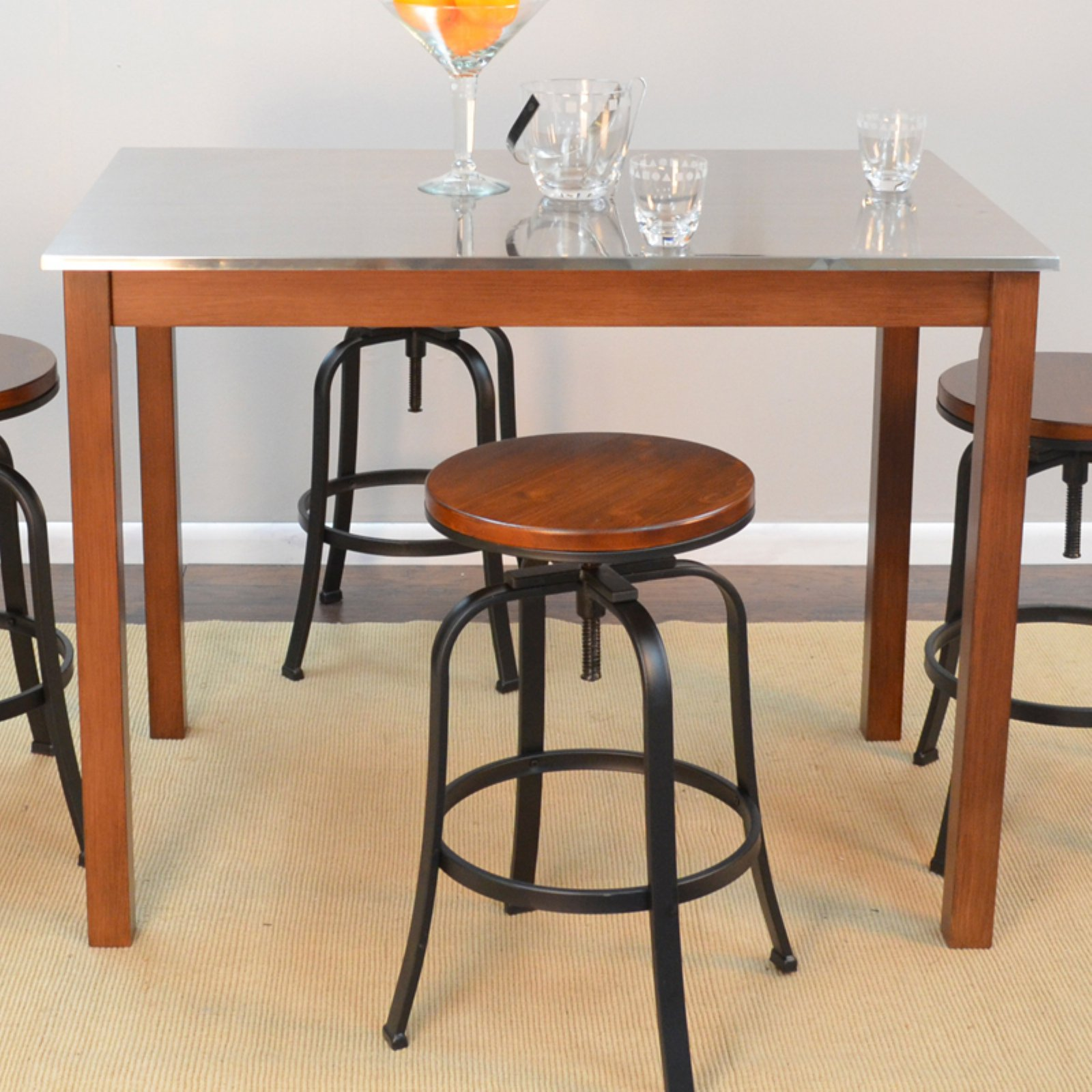Carolina Morgan Stainless Steel Top Bar Table - Chestnut