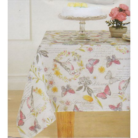 Springtime Print Tablecloth Butterflies Birds Flowers (60 x 102)](Butterfly Tablecloth)
