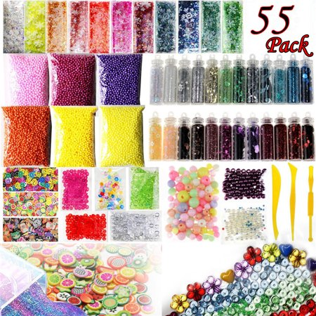 Slime Supplies Kit 55 Pack Slime Beads Charms Slime Tools For DIY Slime Making (Charm Kit)