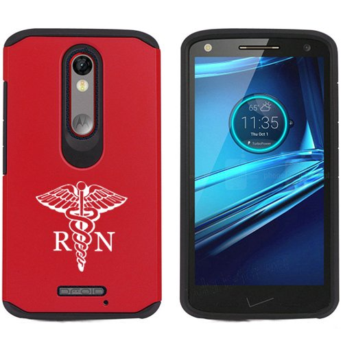 Motorola Droid Turbo 2 Shockproof Impact Hard Soft Case Cover RN Registered Nurse (Red)